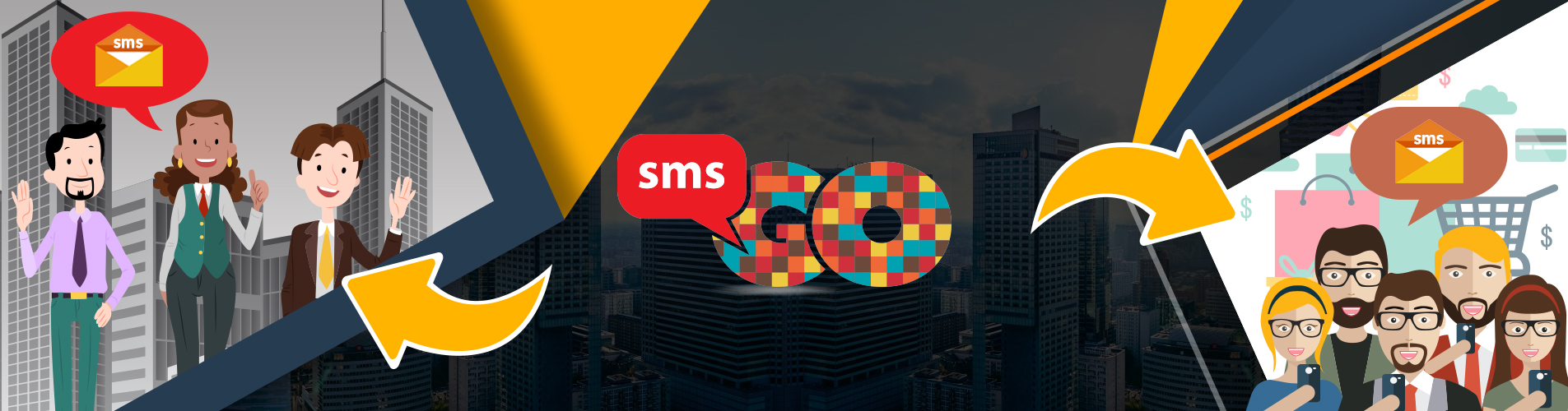 SMS Go Logo reaching out to business customer service and end users
