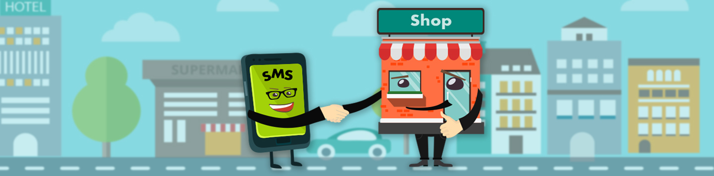 business SMS messaging Phone and a store shaking hands and smiling to each other.